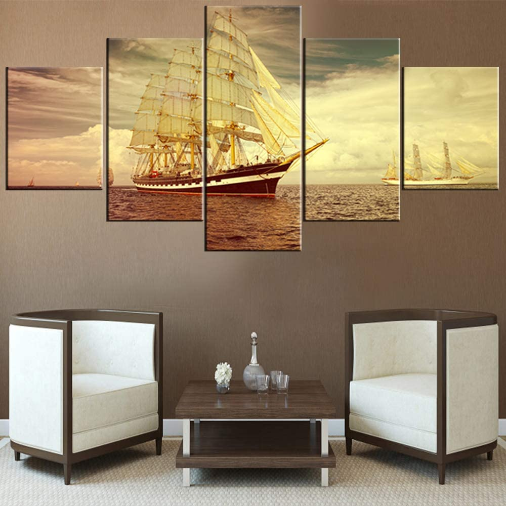 5 Piece Canvas Wall Art Seascape with Sailing Ships Paintings for Living Room Yachting Boat Pictures Premium Quality Artwork HD Prints House Decor Framed Gallery-Wrapped Ready to Hang(60''Wx32''H)