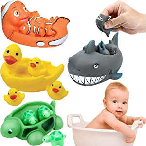 Liberty Imports Ocean Animals Rubber Cute Family Bathtub Pals Floating Duck Shark Clownfish Turtle Bath Toys Value Pack (Set of 4)