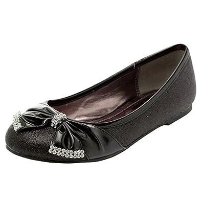Amazon Com Lasonia Girls Flat Shoes Bow Rhinestone Accent Flats