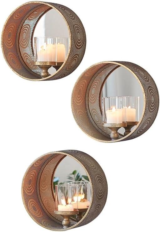 Rund mit Spiegel Ø 31 ca PureDay Wandkerzenhalter Mirror Orientalisch