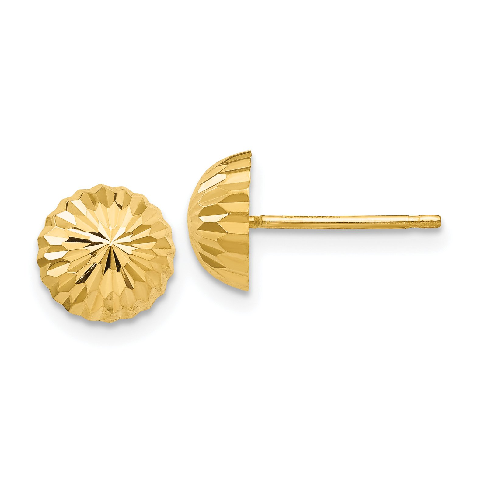 ICE CARATS 14k Yellow Gold 8mm Domed Post Stud Ball Button Earrings Fine Jewelry Gift Set For Women Heart