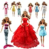 #8: Tatuer 110PCS Barbie Doll Clothes and Accessories Include-10 PCS Clothes Party Gown Outfits +100 PCS Doll Shoes Hanger Magic wand for Girl's Birthday Xmas Gift