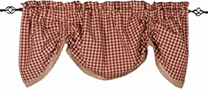 Home Collections by Raghu Barn Red-Nutmeg Heritage House Lace Gathered Valance