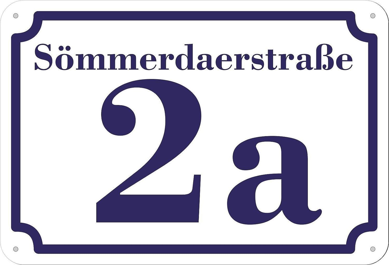 1-2 Zahlen 20 x 17 cm jetzt selbst gestalten dunkelgr/ünes Hausnummer und Stra/ße Schild 2mm Aluverbund