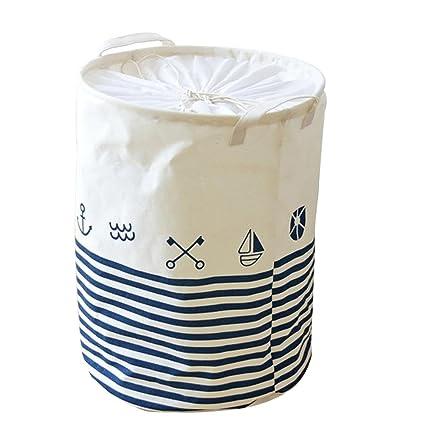 dianlan1 patrón lino bolsa de almacenamiento,organizador de juguetes,Ropa sucia plegable multifuncional Cesta