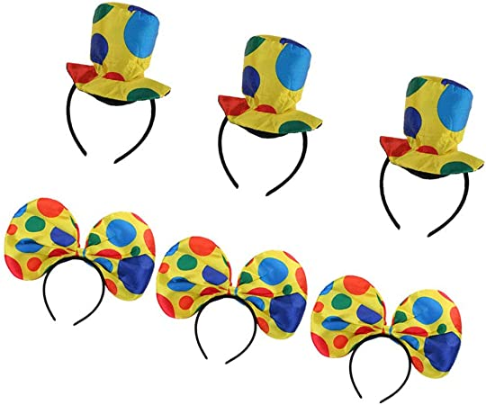 6 Pack Adult Polka Dot Clown Costume Hat Headband Circus Party Fancy Dress