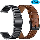 Yeejok Replacement Vivoactive 3 Watch Bands, 20mm Quick Release Brown Genuine Leather Watch Strap and Black Metal Watch Band