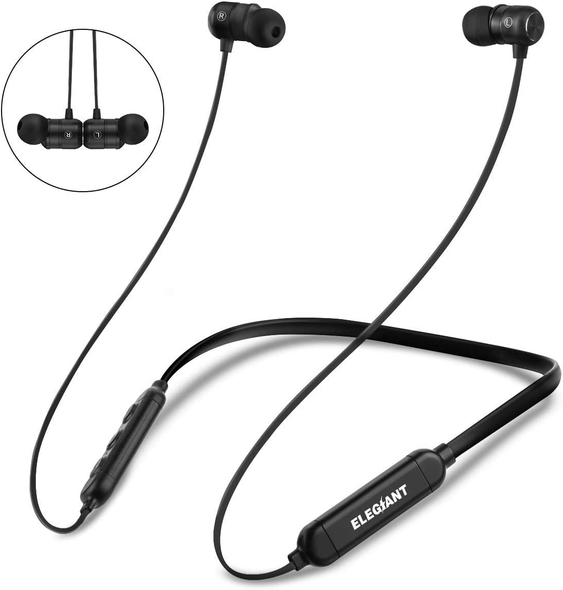 ELEGIANT Auriculares Bluetooth 5.0 Deportivos, Inalámbricos IPX7 Impermeable para Deporte CVC 6.0 con Micrófono Manos Libres para iOS Android Música Correr Bicicleta Viajar Running Gimnasio, ECC