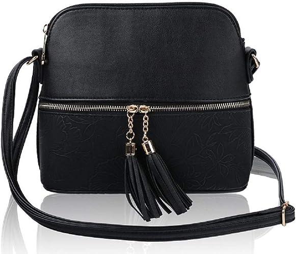 Women's Mini Tassel Zip Trendy Snakeskin Faux Leather Sling Crossbody Handbag