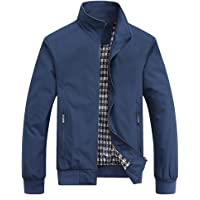 MyMei Men's Casual Jacket Stand Collar Zipper Design Regular Coat Outerwear