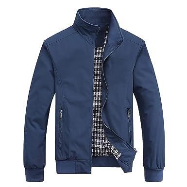 e5a188977 MyMei Men's Casual Jacket Stand Collar Zipper Design Regular Coat Outerwear