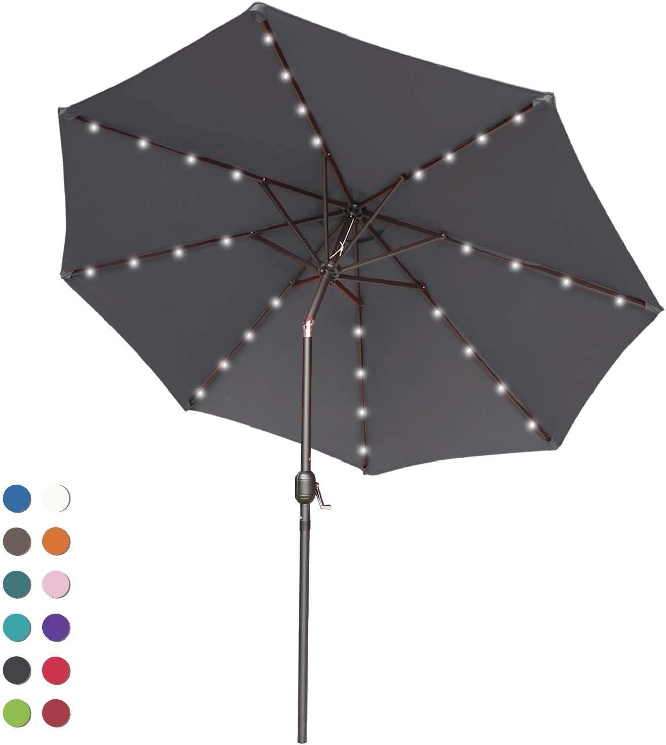ABCCANOPY Patio Umbrella Ourdoor Solar Umbrella LED Umbrellas with 32LED Lights, Tilt and Crank Table Umbrellas for Garden, Deck, Backyard and Pool,12+Colors, (Dark Gray)