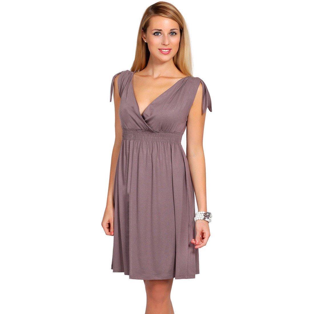 iHAIPI - Damen Kurzärmel Sommerkleid V-Ausschnitt Business Faltenrock Cocktailkleid retro 50er Jahre Kleid (02. Medium, 08. Braun)