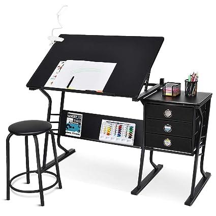 Marvelous Tangkula Drafting Desk Drawing Table Adjustable With Stool And Drawers Black Creativecarmelina Interior Chair Design Creativecarmelinacom