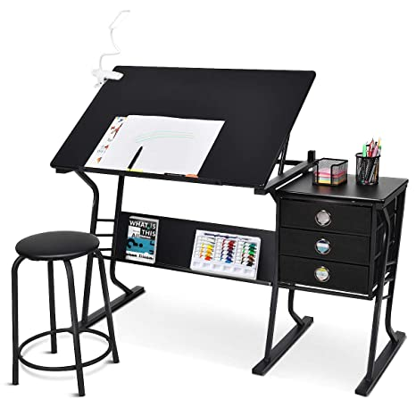 tangkula redacción escritorio mesa de dibujo ajustable con ...