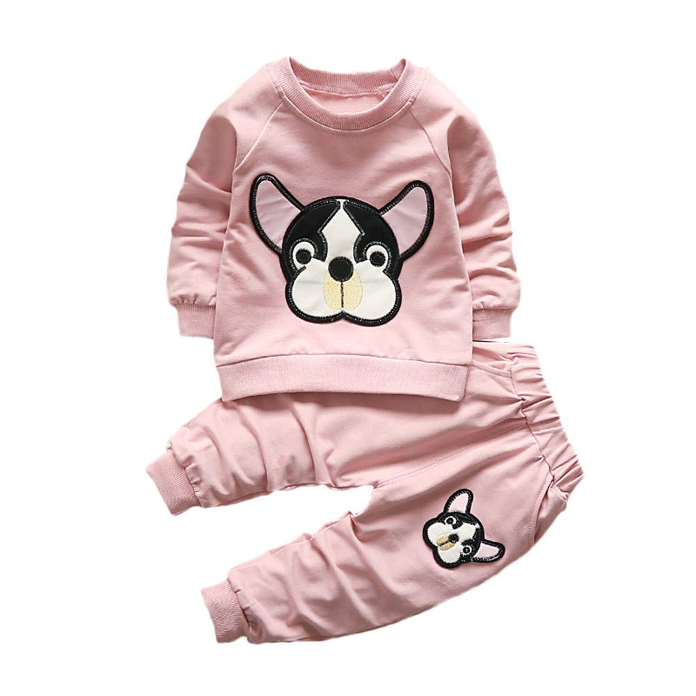 Newborn Unisex Baby Boys Girls Kids Animals Clothes Sweatshirt and Trousers 2pcs Long Sleeve T-Shirt Pants Set Autumn