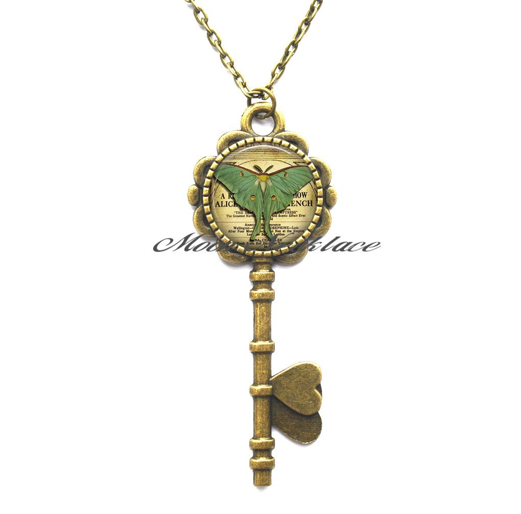 Amazon.com : Luna Moth Key Pendant, Luna moth Key Necklace ...
