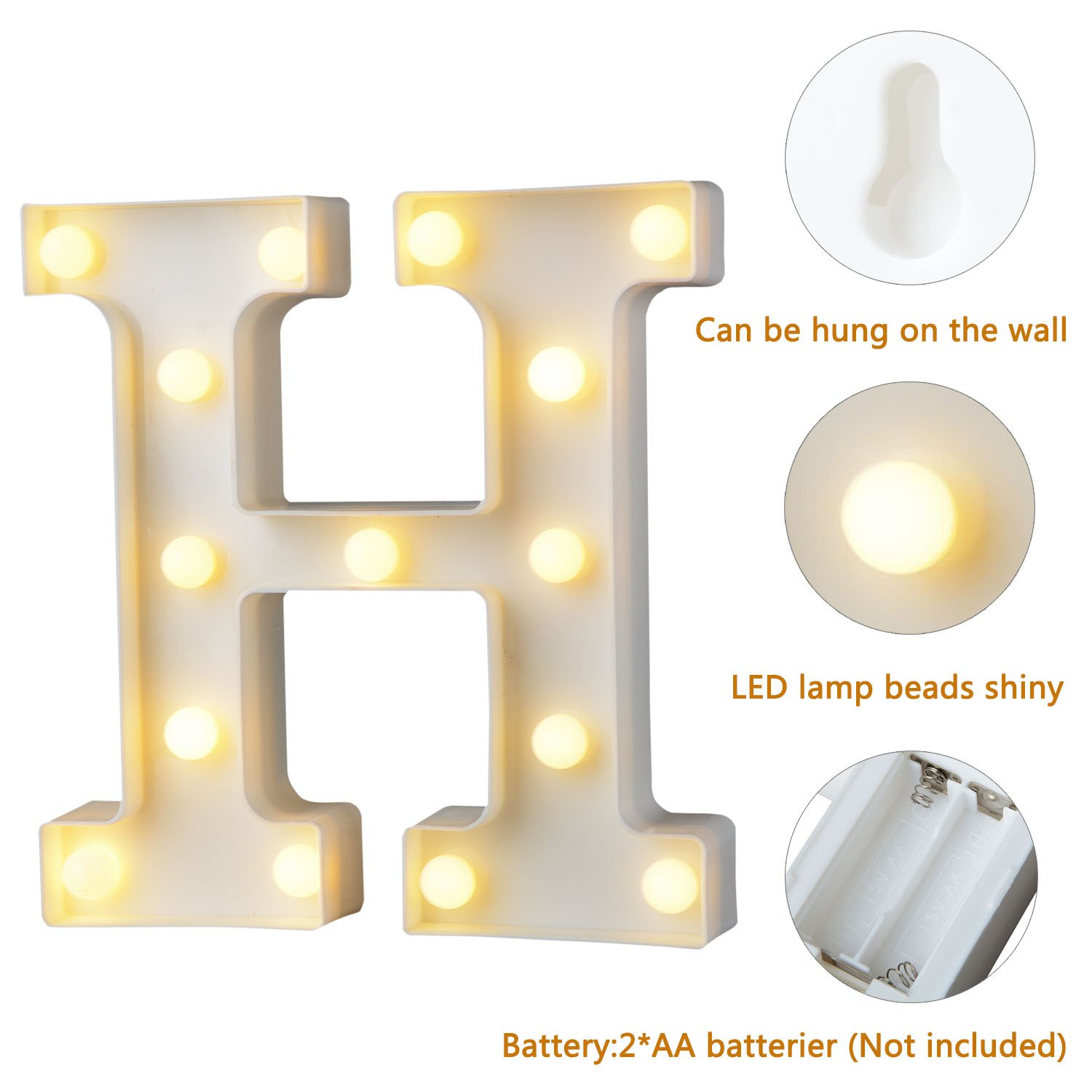 Led Letters Lights Alphabet Marquee Decoration Light Up Sign Battery
