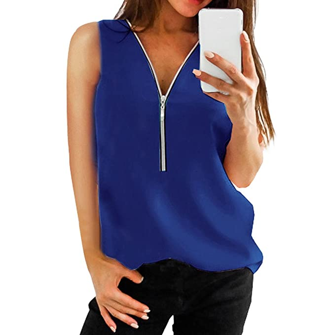 4f967dce31939 Women Summer Tank Top Solid Zipper Front Sleeveless Tee Shirt Casual V-Neck  Vest Blouse