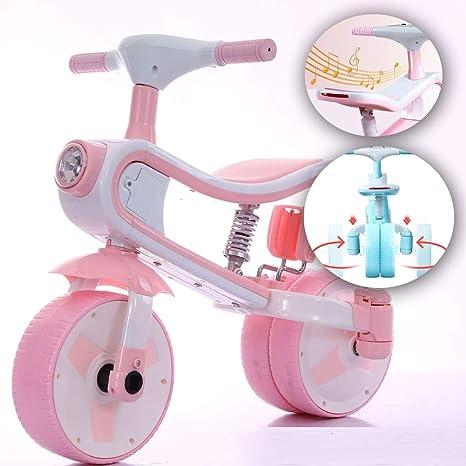 ANYURAN Bicicleta Equilibrada para Niños Función De Música Plegable Bicicleta Dos Modos De Conversión Adecuados para Niños Mayores De 3 Años,Pink: Amazon.es: Deportes y aire libre