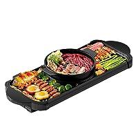 Elektro Hot Pot Teppanyakigrill XL Schwarz Hot Plate Balkon Camping ✔ eckig ✔ Grillen mit Elektrogrill Unterhitze ✔ für den Tisch