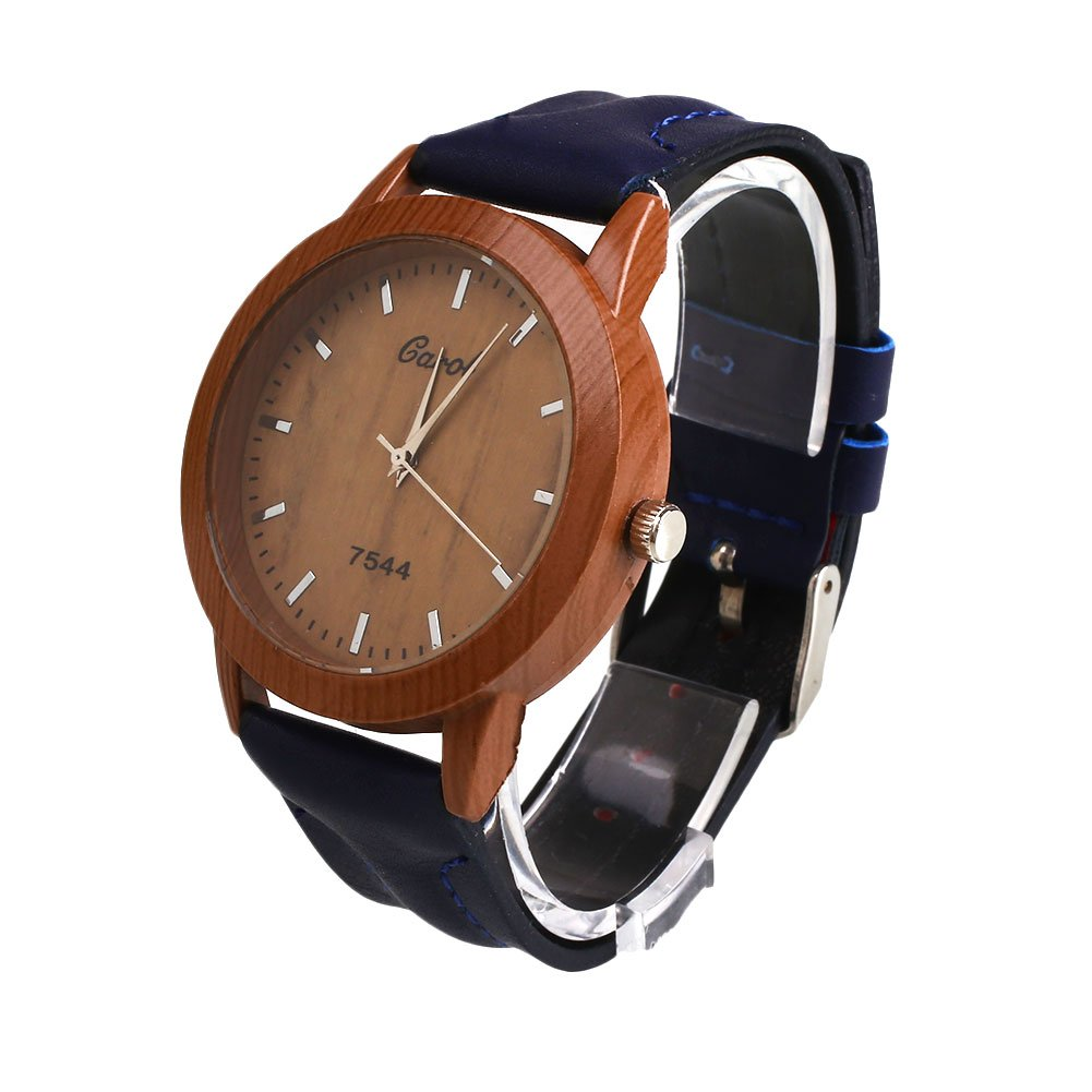Amazon.com: Auntwhale Wooden Watch Dial Wood Watch Leather Strap Wrist Watch Quartz Analog Watch Retro Casual Big dial Watch Blue: Watches