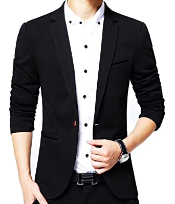 c4ac70c7fb5 Mens Slim Fit Single One Button Blazer Jackets Black US X-Small Label X