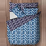 Blue & Grey Pixels Design Bedding Double Duvet Cover Set with 2 Pillow Cases by Ready Steady Bed