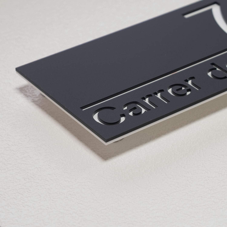 N/úmero de casa de acr/ílico mate excepcional Placa de letrero de puerta moderna de aspecto flotante con separador de aluminio 30x15cm