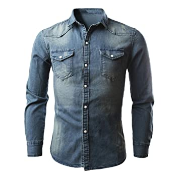 Amlaiworld_Camisas hombre Camisa de mezclilla retro Blusa de vaquero Slim Thin Tops largos Camisas de manga
