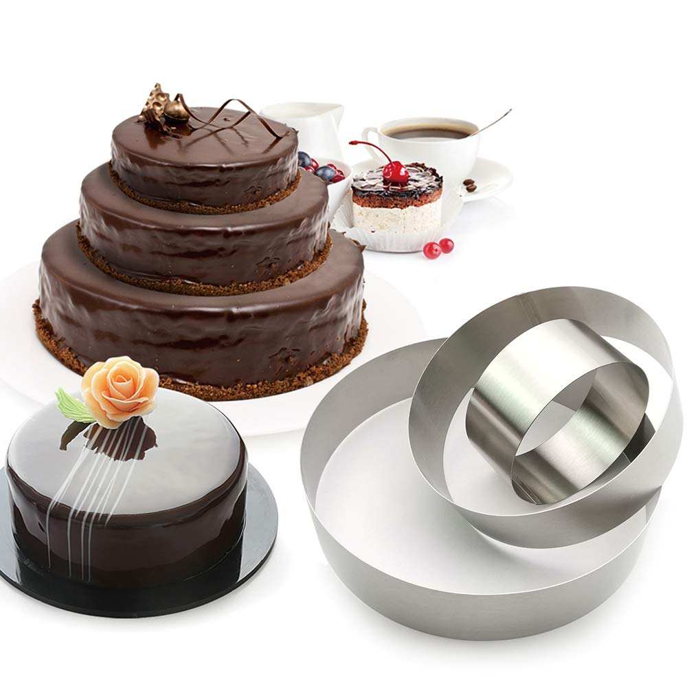 3 Tier Round Multilayer Anniversary Birthday Cake Baking Pans,Stainless Steel 3 Sizes Rings Round Molding Mousse Cake Rings Round-shape,Set of 3