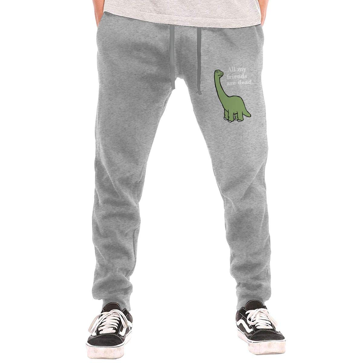 All My Friends are Dead Dinosaur Drawstring Waist,100/% Cotton,Elastic Waist Cuffed,Jogger Sweatpants