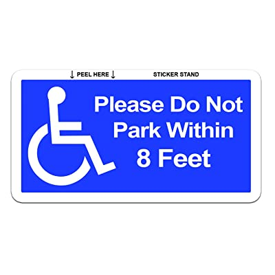 Please Do Not Park Within 8 Feet - Handicapped Disabled - Window Bumper Sticker: Automotive
