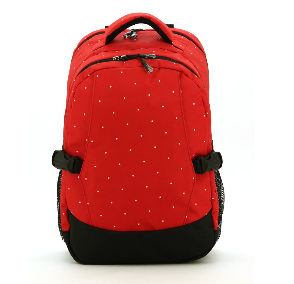 Travel Backpack Diaper Bag,with Insulated 2 Bottle Pockets (Red+Black)