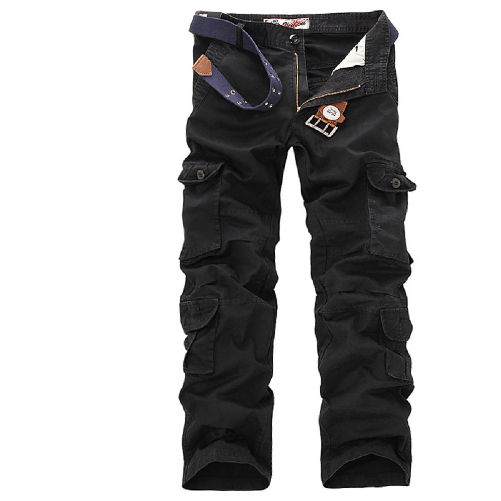 Yin chen Mens Casual Active Military Work Cargo Pants-Black-34