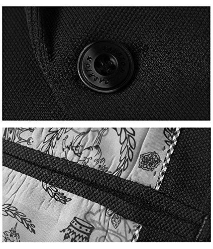 Di Cappotto Affari Casual Giacca Poliestere Da Swisswell Uomo Nero In Blazers Slim Fit Vestito Elegante Business Button 7qwxPO