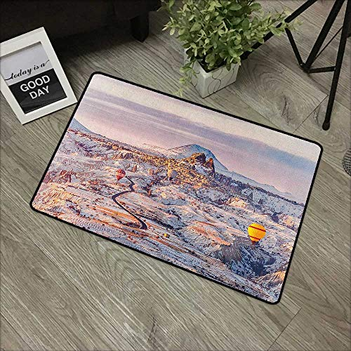 Bathroom mat W35 x L47 INCH Winter,Cappadocia Turkey Landscape with Hot Air Balloons Anatolia Valley Geology Tourism, Multicolor Non-Slip Door Mat Carpet