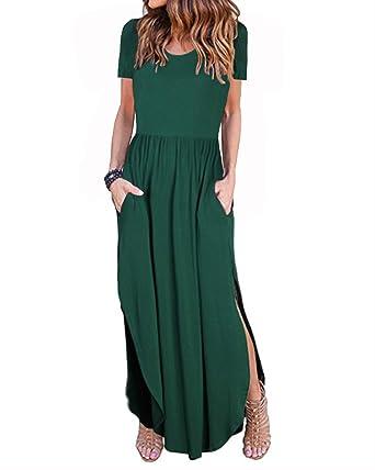 d41670cf9bf II ININ Women s Short Sleeve Loose Plain Side Split Casual Long Maxi Dresses  with Pockets(