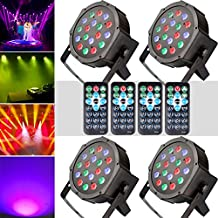KOOT Stage Light 18 LEDs DJ Par Light with RGBW - Up Lighting Disco Party Light Club Lights Controlled by Remote and DMX Control - Best for Karaoke Club Bar Wedding Show(4 pack)