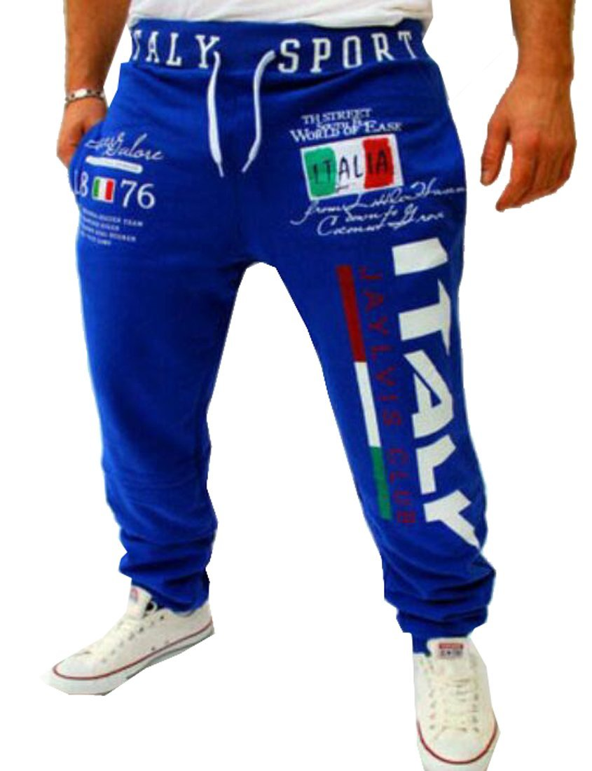 Mens Drawstring Italy Printed Loose Fit Sports Pants Joggers Sapphire Blue M