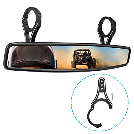 【2019 Upgraded】RZR Rear View Center Mirror, ISSYAUTO HD UTV Mirror with  ShatterProof Tempered Glass and 1 75