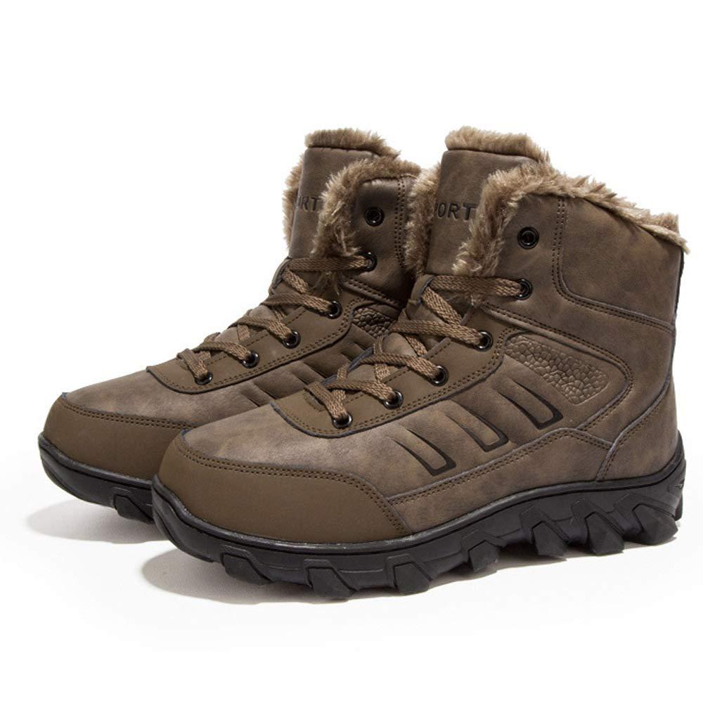 WANG-LONG Schuhe Herren Martin Stiefel Herbst Und Winter Plus Samt Warme Retro Outdoor Werkzeug Baumwolle Lederstiefel Rutschfeste Mode,braun-39