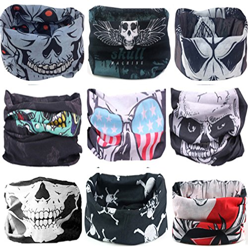 Custom Fit Halloween Masks (KALILY 9PCS Headband Bandana - Versatile SKULLY Sports & Casual Facemask –Multifunctional Neck Gaiter, Headwrap, Balaclava, Helmet Liner, Headwear for Halloween, Running, Cycling, Fishing etc)