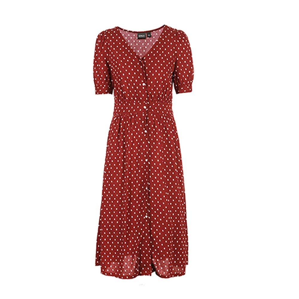 Red Dress Female Waist A Word Spring and Summer Print Retro Cute (color   White, Size   XS)