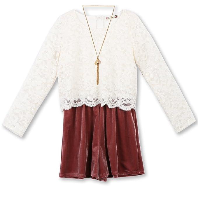 2f8213e2b196 Amazon.com  Speechless Girls  Big Lace to Velvet Romper  Clothing