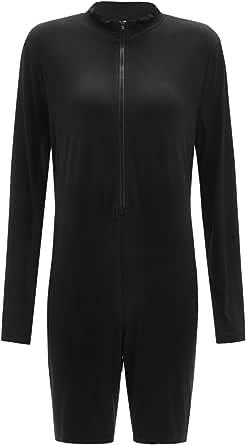 Floerns Women's Plus Size Long Sleeve Mock Neck Zip Up Unitard Romper Jumpsuit