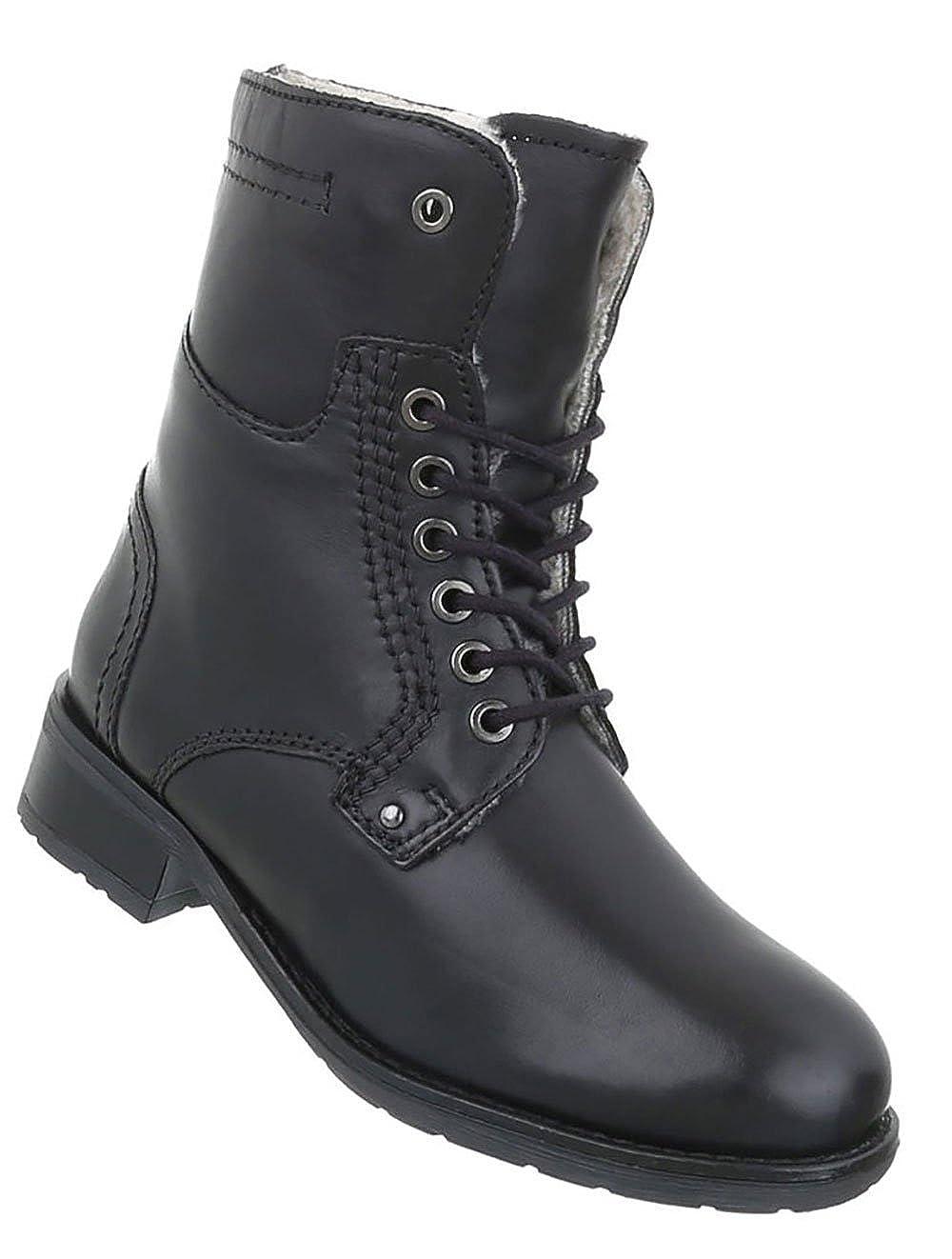 Damen Schuhe Stiefeletten Leder Schnür Stiefel