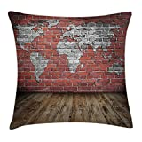 Ambesonne Wanderlust Throw Pillow Cushion Cover, Vintage Old Grunge Map Room Style Brick Rustic Geographic Interior Travel, Decorative Square Accent Pillow Case, 24 X 24 inches, Grey and Red For Sale