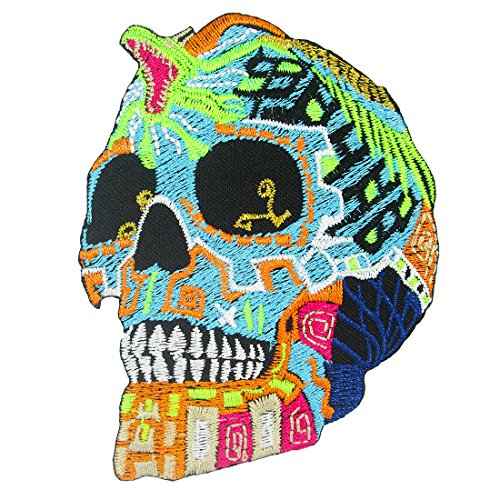 [Day of the Dead Mexican Sugar Skull with King Cobra Iron on Embroidered Patches] (Old School Basketball Halloween Costume)