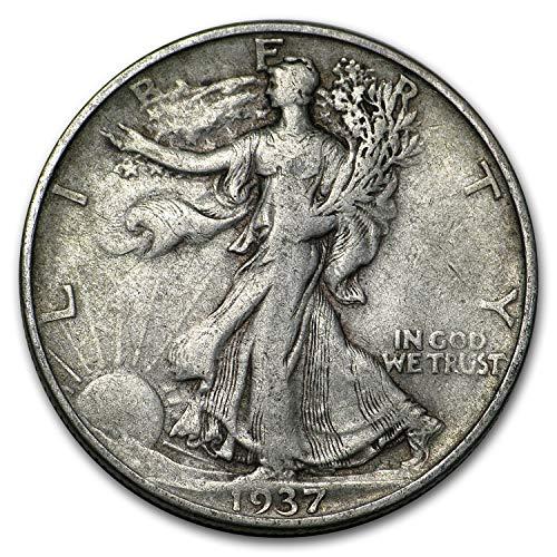 1937 D Walking Liberty Half Dollar VG/VF Half Dollar Very Good